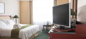 photograph of LCD television in five star hotel room